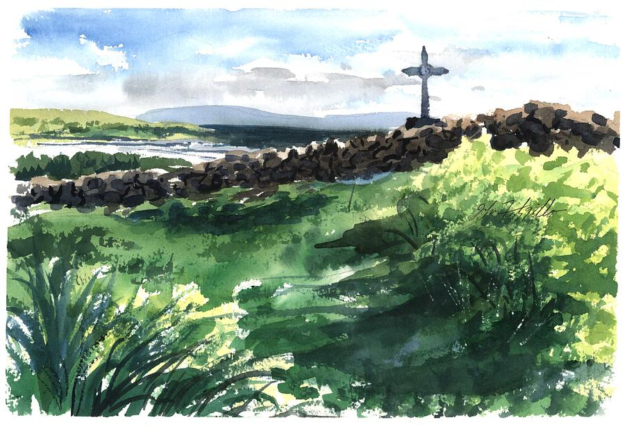 Landscape Painting - summer in Galway bay by John Fitzgibbon