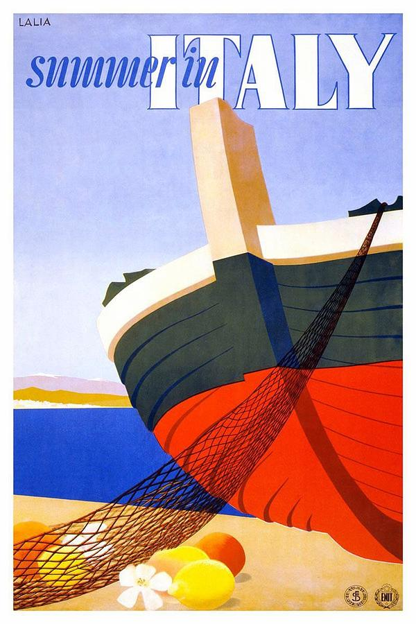 Summer In Italy - Bow Of A Fishing Boat With Net - Retro Travel Poster - Vintage Poster Mixed Media