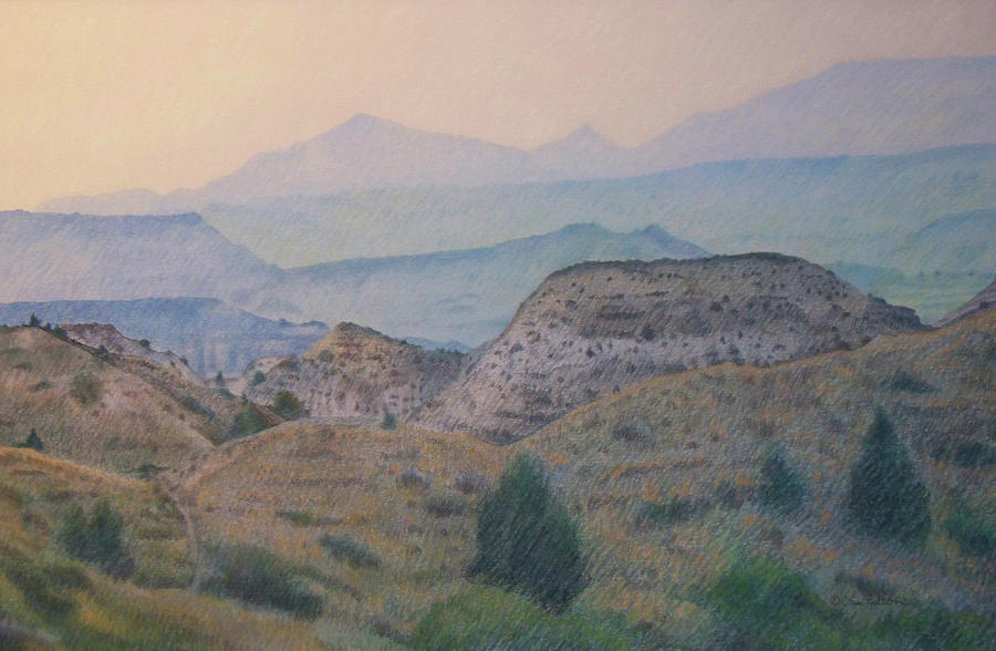 North Dakota Drawing - Summer In The Badlands by Cris Fulton