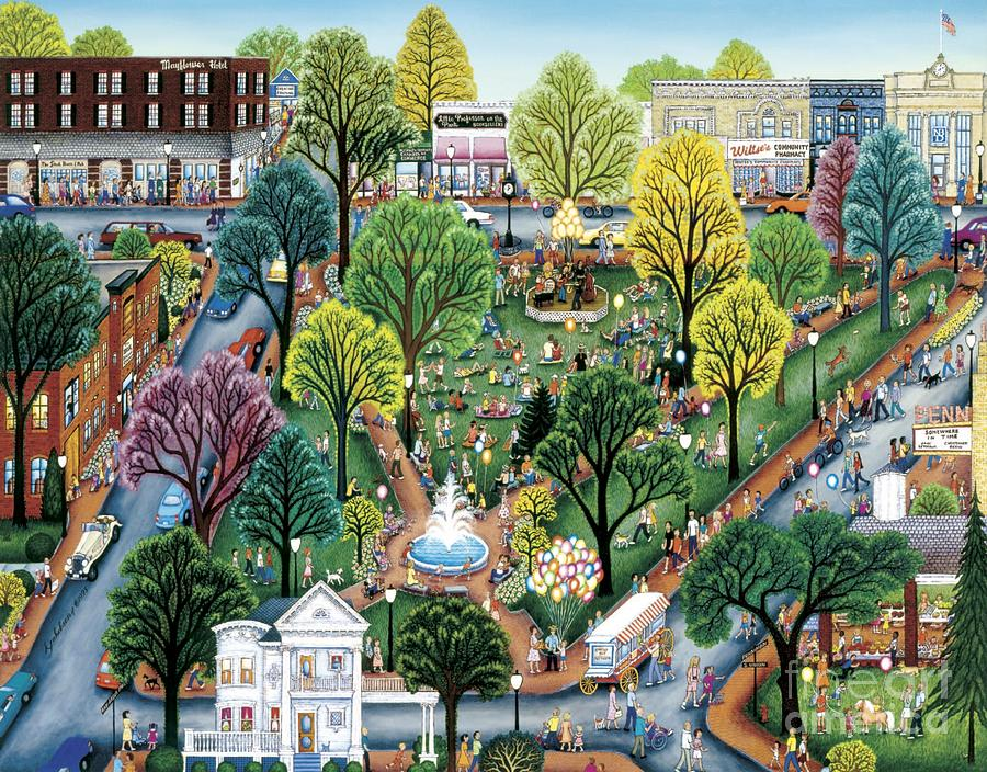 Plymouth Painting - Summer In The Park by Kathy Jakobsen