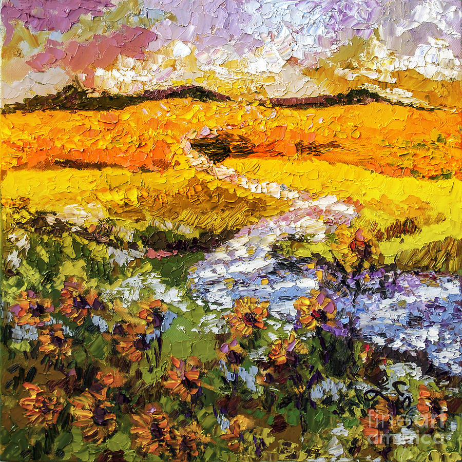 Summer landscape Sunflowers Provence by Ginette Callaway