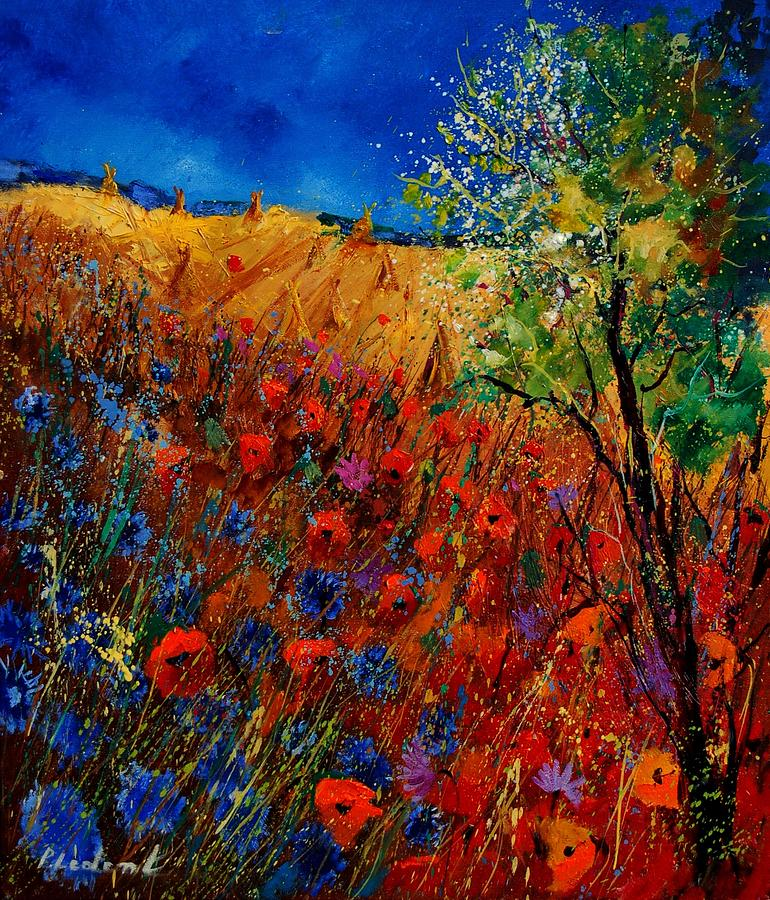 Flowers Painting - Summer Landscape With Poppies  by Pol Ledent