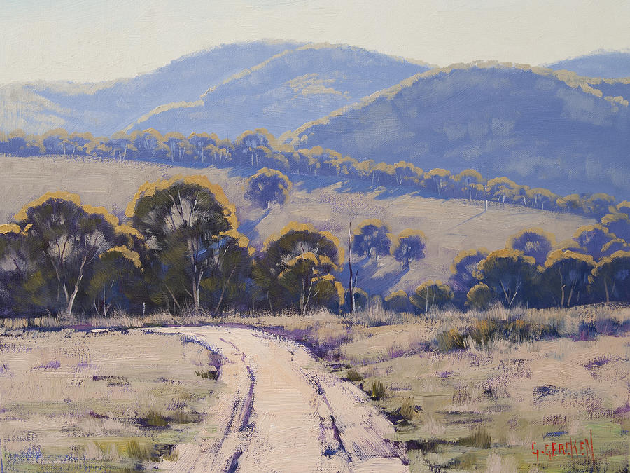 Hilly Painting - Summer Light Lithgow by Graham Gercken
