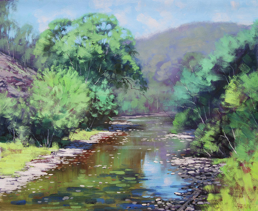 River Painting - Summer Light Williwa ck by Graham Gercken