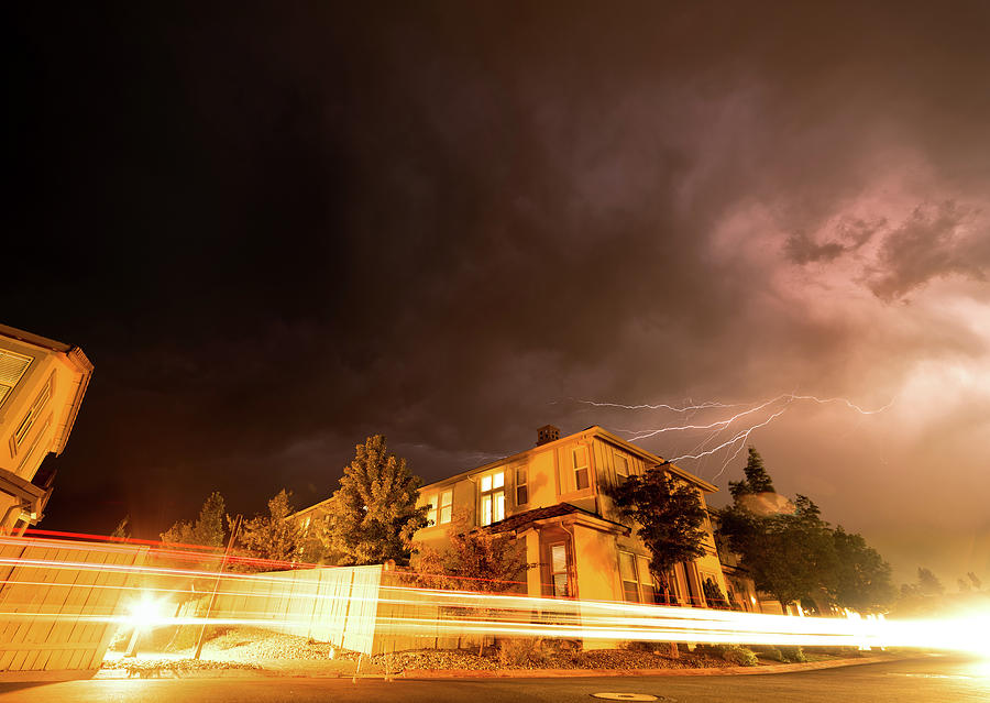 Summer Lightning And Light Trails In A Suburban Setting At Night In Reno Nevada Photograph