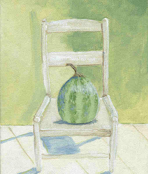 White Chair Painting - Summer Melon by Laurel Porter-Gaylord