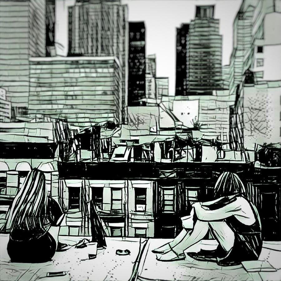 Summer Digital Art - Summer night in the city sketch drawing by MendyZ