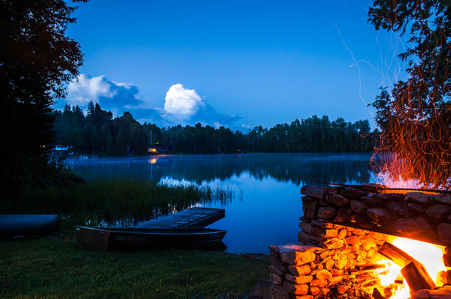 Campfire Photograph - Summer Nights On The Pond by John Crookes