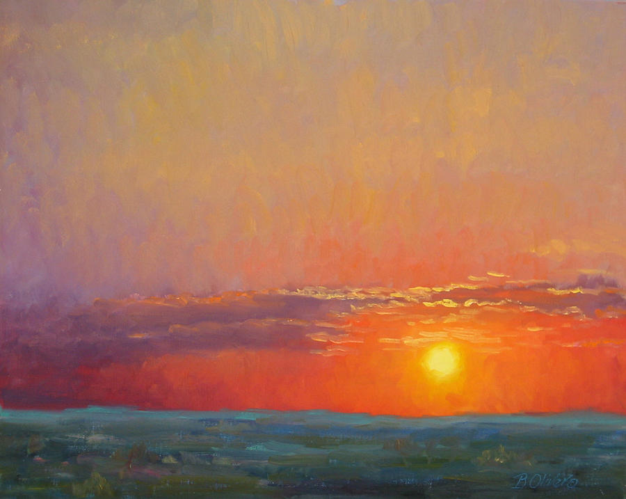Sunset Painting - Summer Of The Red Sky by Bunny Oliver