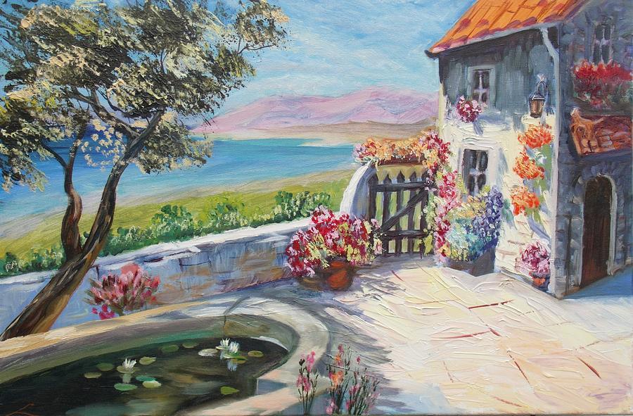 Landscape Painting - Summer Patio by Elena Sokolova