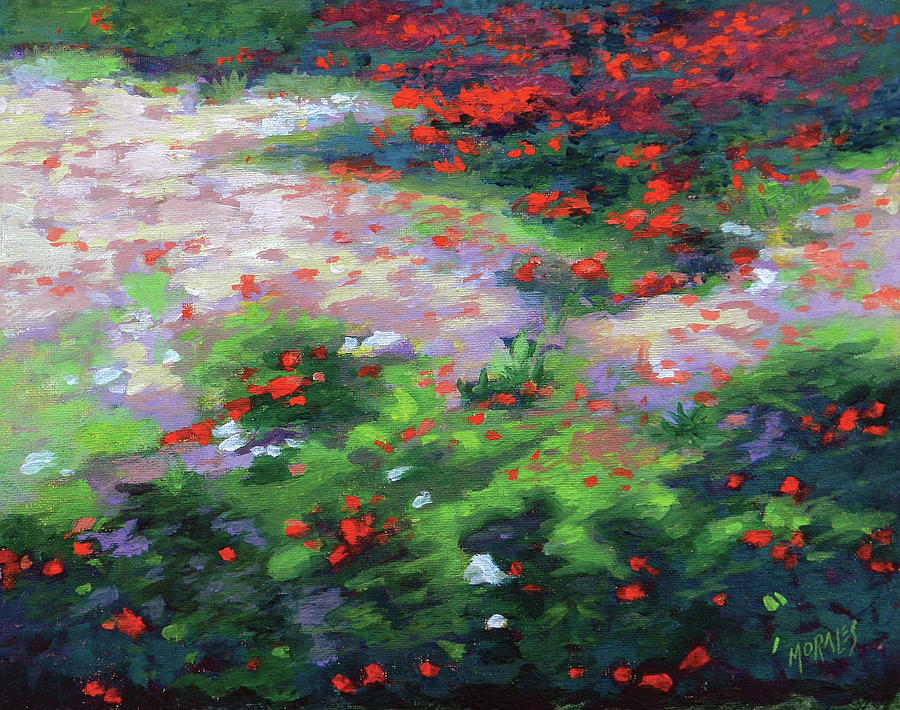 Impressionist Painting - Summer petals on a forest ground by Ben Morales-Correa