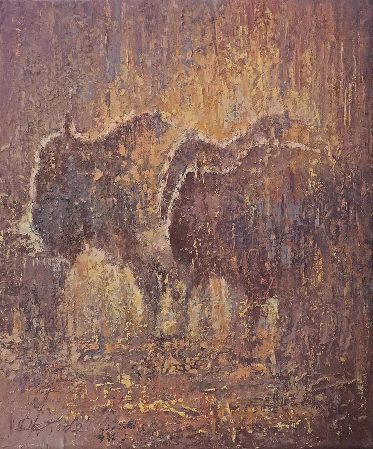 Bison Painting - Summer Rain by Mia DeLode