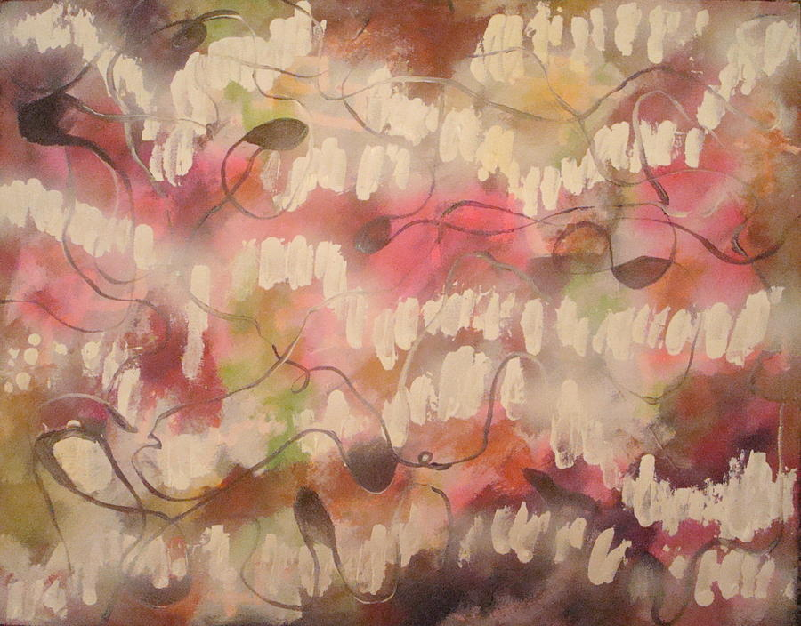 Abstract Pink Painting - Summer Reflection  by W  Todd Durrance