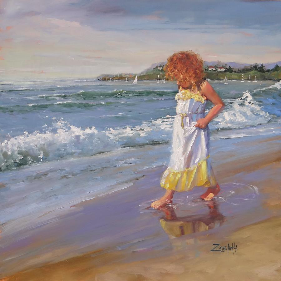 Young Girl Painting - Summer Reflections by Laura Lee Zanghetti