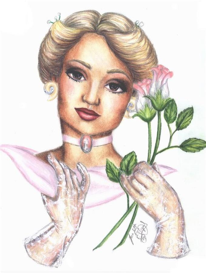 Portrait Drawing - Summer Rose by Scarlett Royal