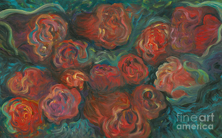 Red Painting - Summer Roses by Nadine Rippelmeyer