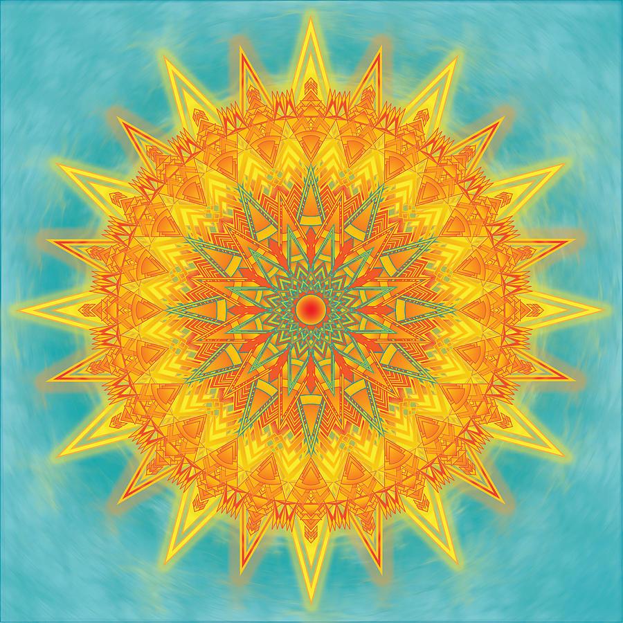 Summer Digital Art - Summer Solstice Mandala by Megan Manske