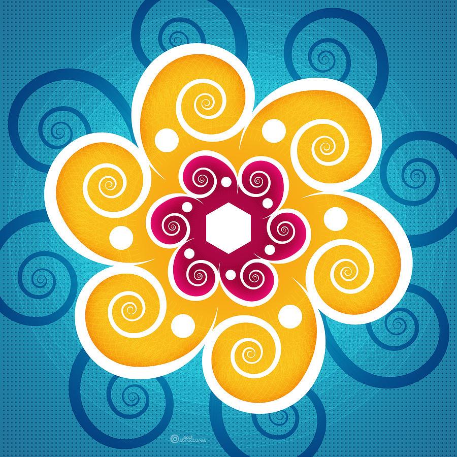 Spiritual Digital Art - Summer Spiral by Soul Structures
