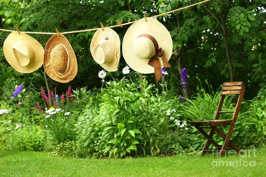 Breeze Digital Art - Summer Straw Hats Hanging On Clothesline by Sandra Cunningham