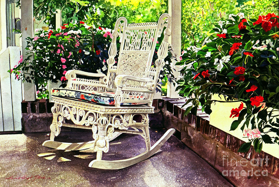 Wicker Chairs Painting - Summer Sun Porch by David Lloyd Glover