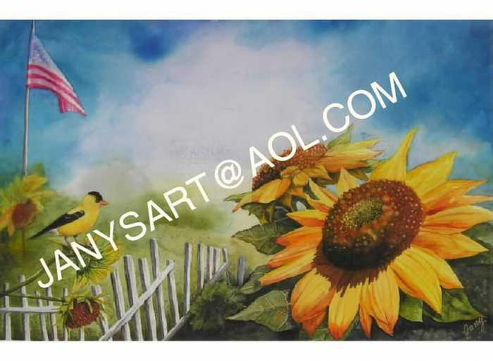 Sunflower Painting - Summer Sunflowers by Jany Schindler