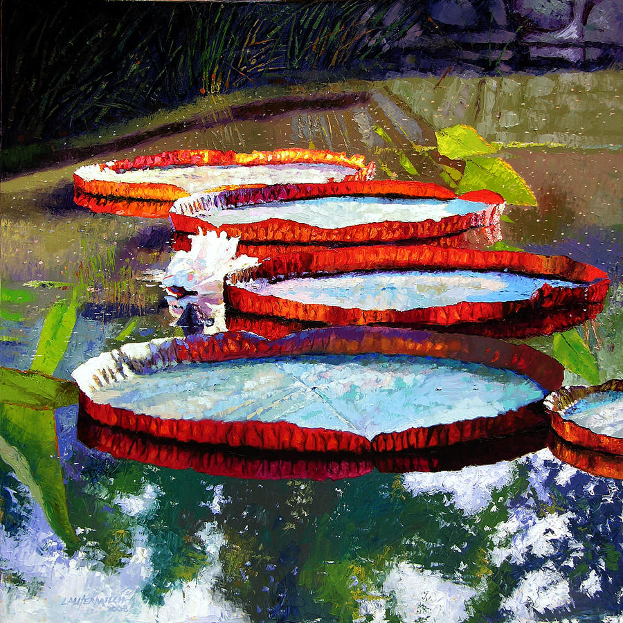 Water Lilies Painting - Summer Sunlight On Lily Pads by John Lautermilch
