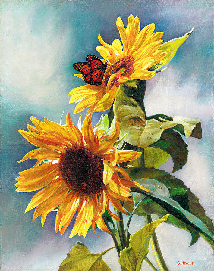 Sunflower Painting - Summer by Svitozar Nenyuk