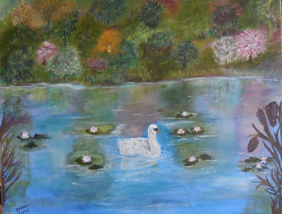 Scenes Painting - Summer Swan by Karen Lipek