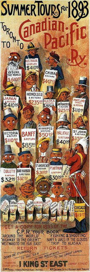 Summer Tours 1893 Canadian Pacific - Retro Travel Poster - Vintage Poster Mixed Media