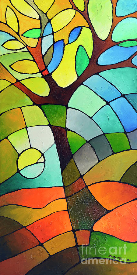 Geometric Painting - Summer Tree by Sally Trace