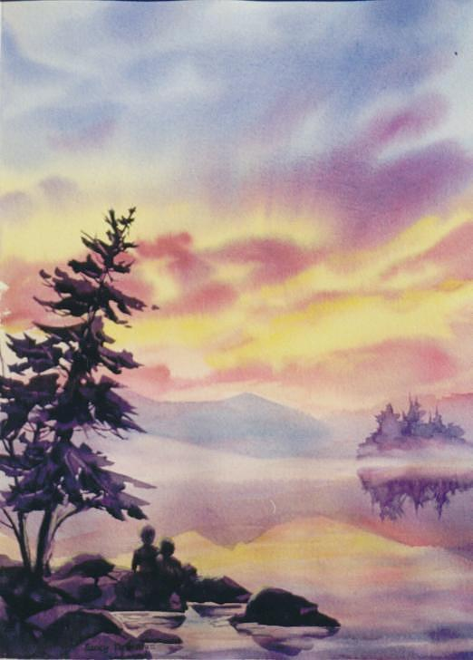 Sunset Painting - Summer-vacation by Nancy Newman