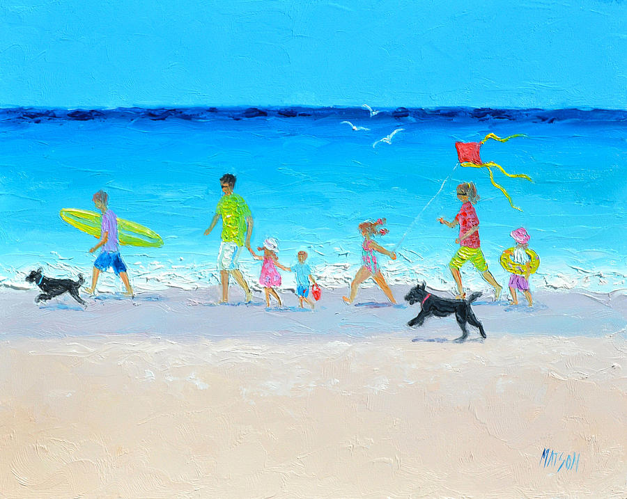 Beach Painting - Summer Vacation Time by Jan Matson