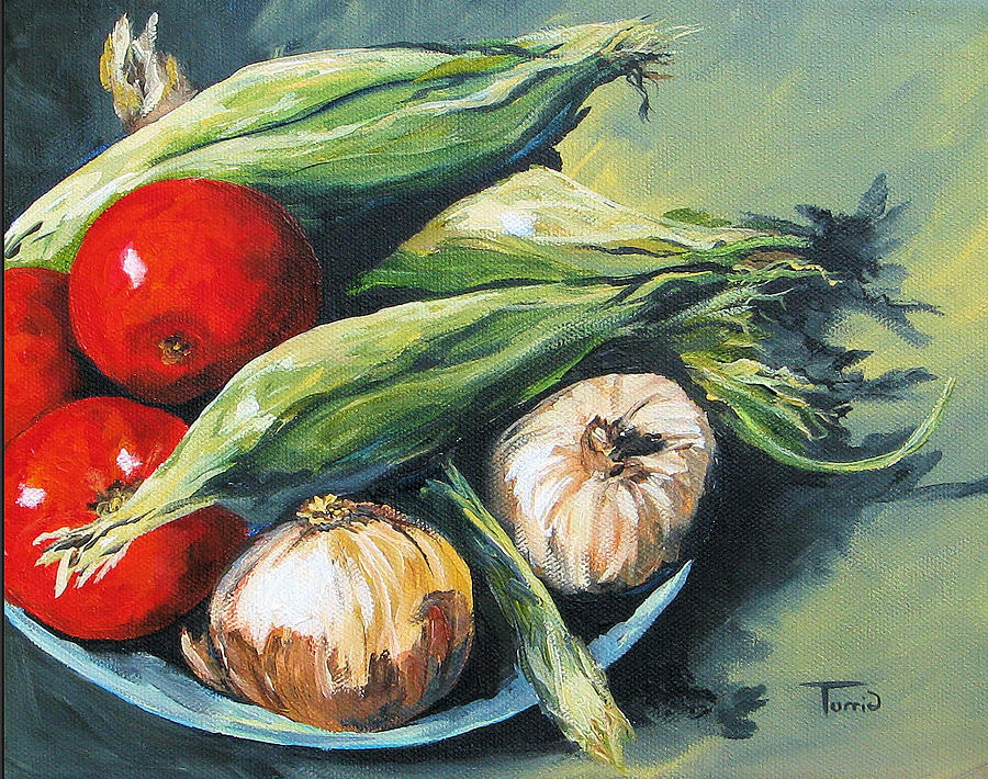 Onion Painting - Summer Vegetables  by Torrie Smiley