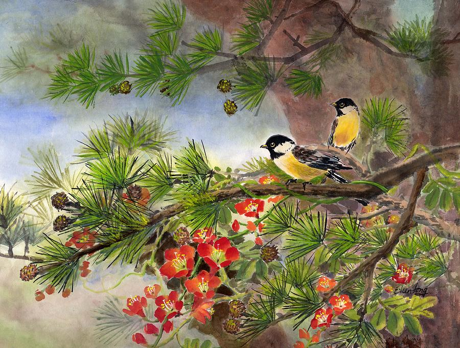 Chinese Trumpet Vine Painting - Summer Vine With Pine Tree by Eileen  Fong