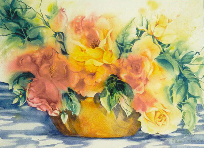 Roses Painting - Summer-warmth by Nancy Newman