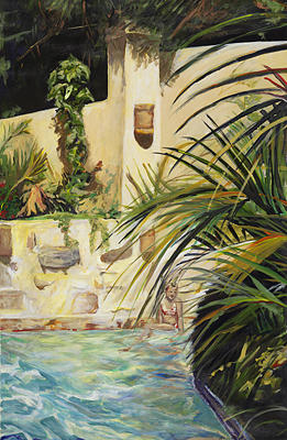 Tropical Painting - Summers Lounge by Michelle Winnie