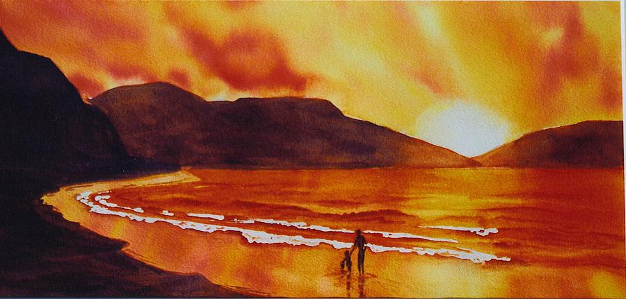 Landscape Painting - Summers-sunset by Nancy Newman