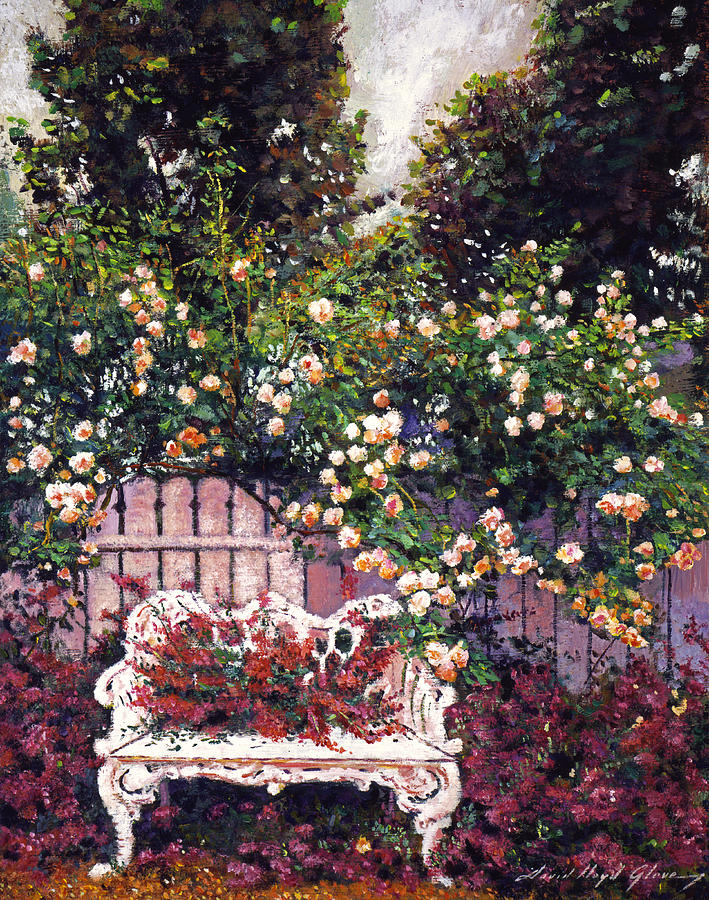 Gardens Painting - Sumptous Cascading Roses by David Lloyd Glover