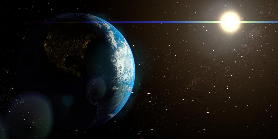 Sun And Earth From Space Digital Art By HQ Photo