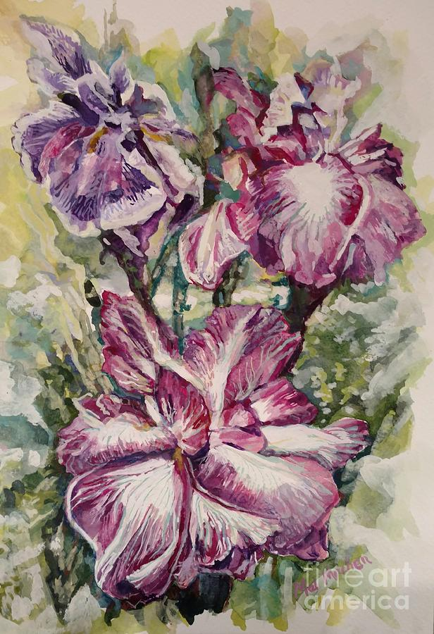 Flowers Painting - Sun And Iris by Melody Machen