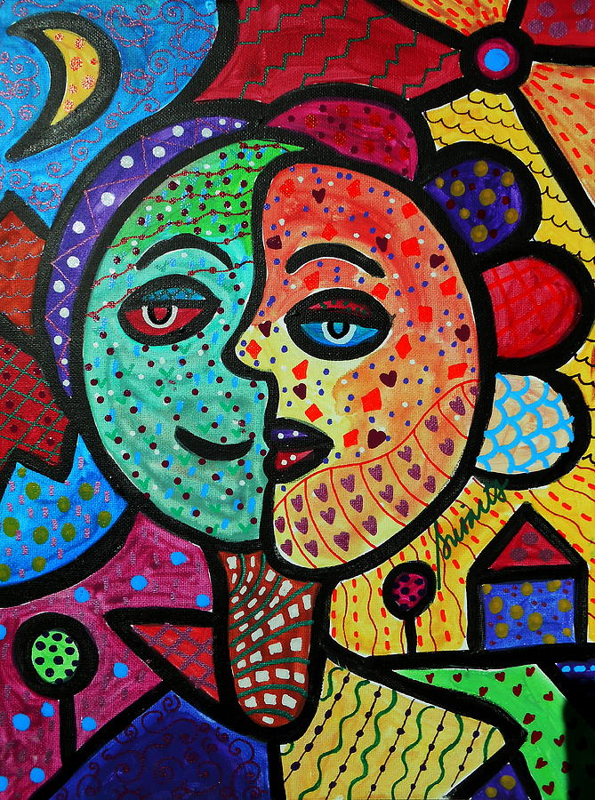 Sun And Moon Abstract Couple Painting By Pristine Cartera