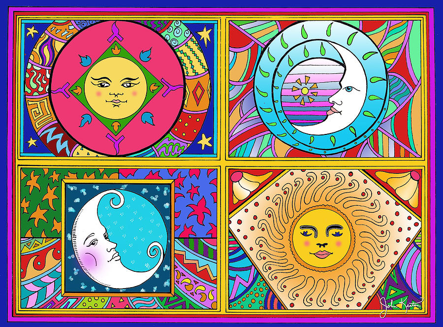 Sun Drawing - Sun And Moon Ensemble by John Keaton