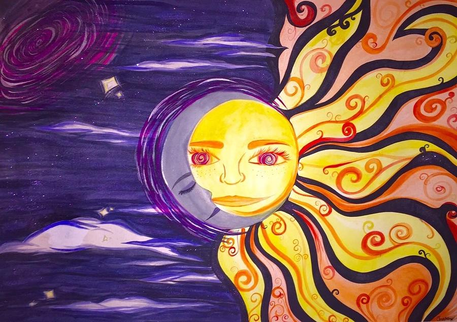 Sun And Moon Painting by Gabby Fuller