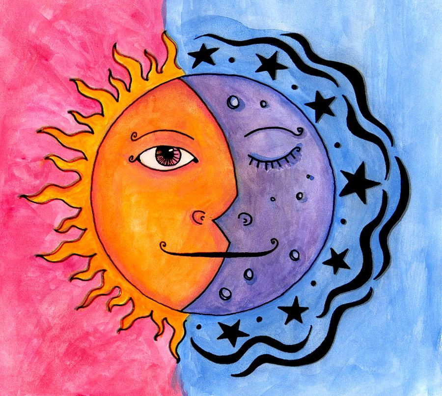 Sun Painting - Sun And Moon by Jessica Kauffman