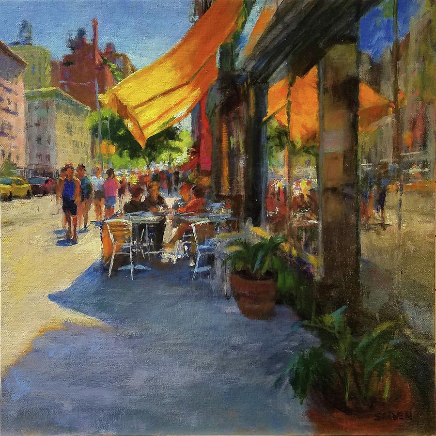 New York Painting - Sun And Shade On Amsterdam Avenue by Peter Salwen