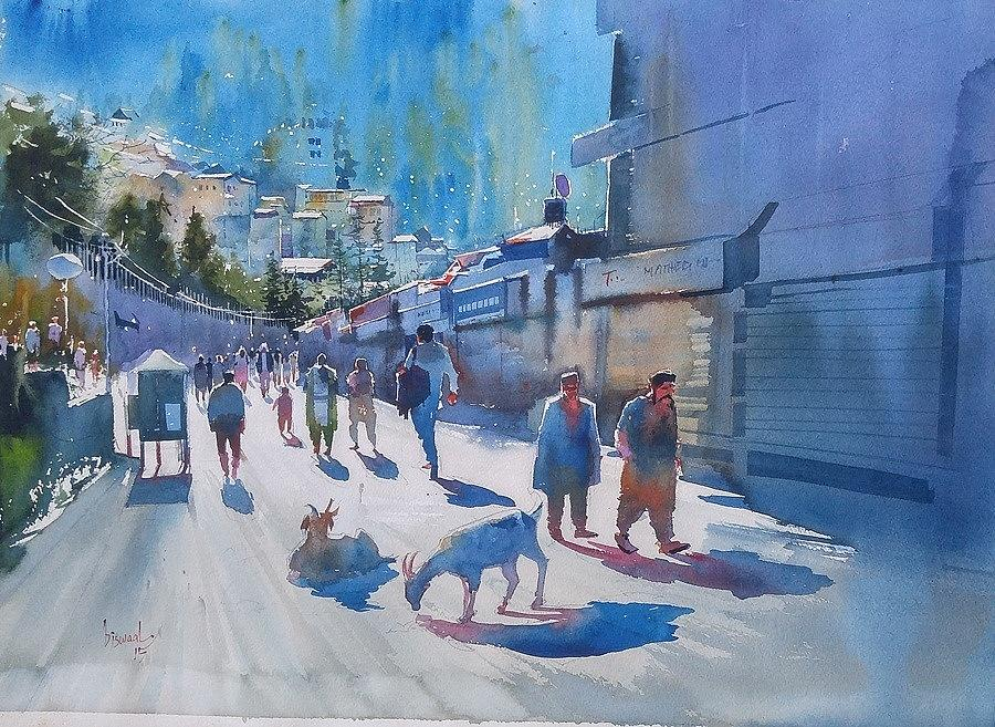 Sun And Shimla  Painting by Bijay Biswaal