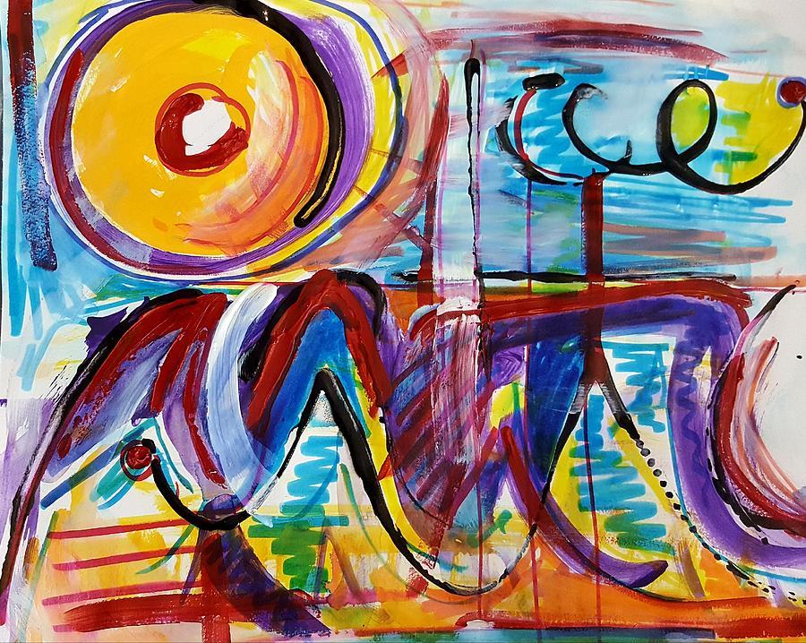Acrylic Painting Mixed Media - Sun And Waves by Jane Renzi
