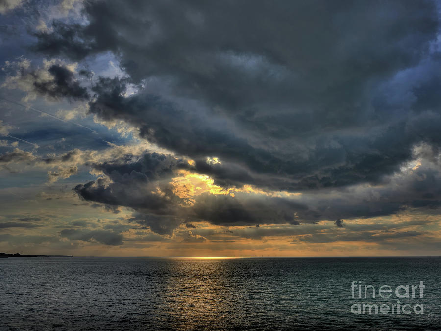 Mark Photograph - Sun Breaking through Clouds in Margate Harbour UK by Mark Carnaby
