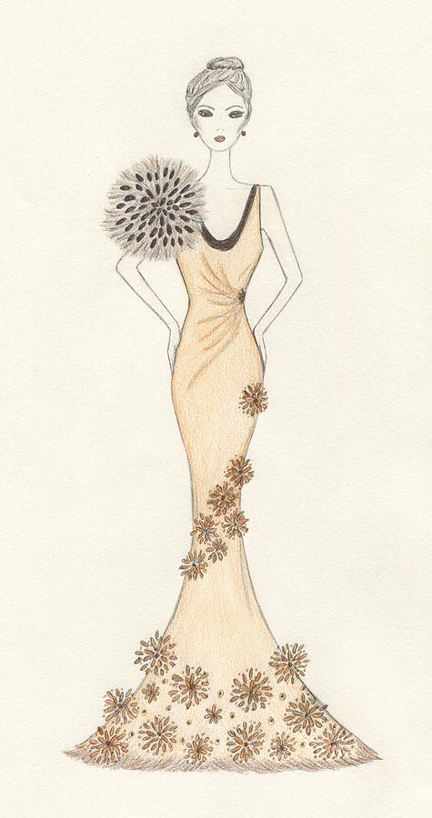 Fashion Illustration Drawing - Sun Burst Gown by Christine Corretti