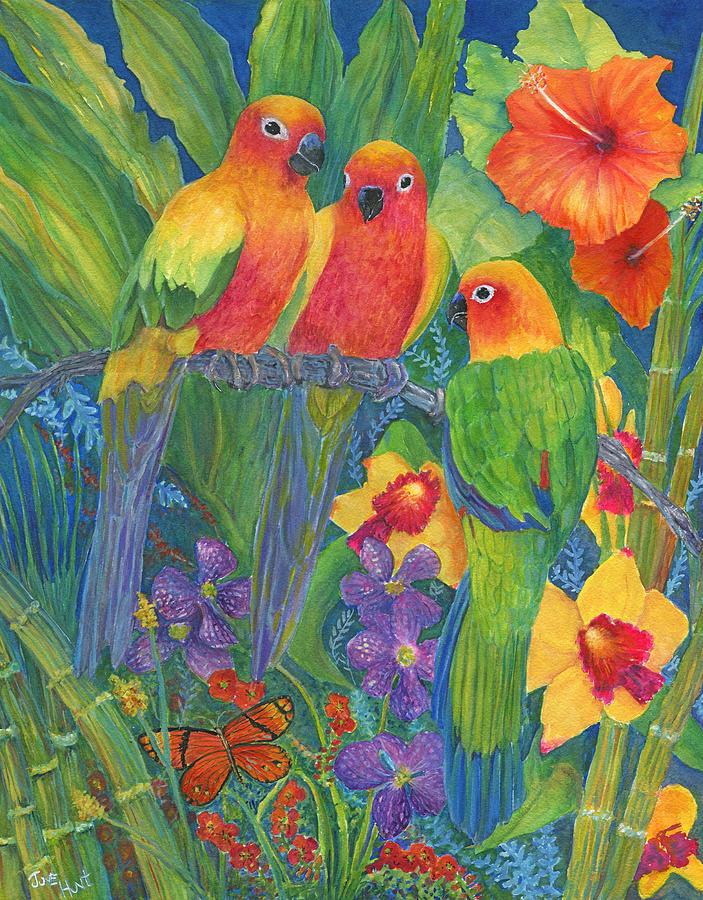 Birds Painting - Sun Conure Parrots by June Hunt